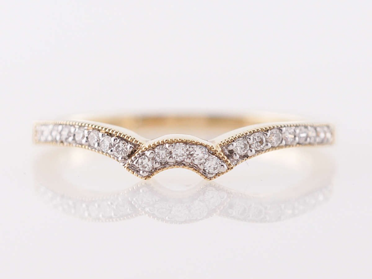 Curved Yellow Gold Diamond Wedding Band 14k