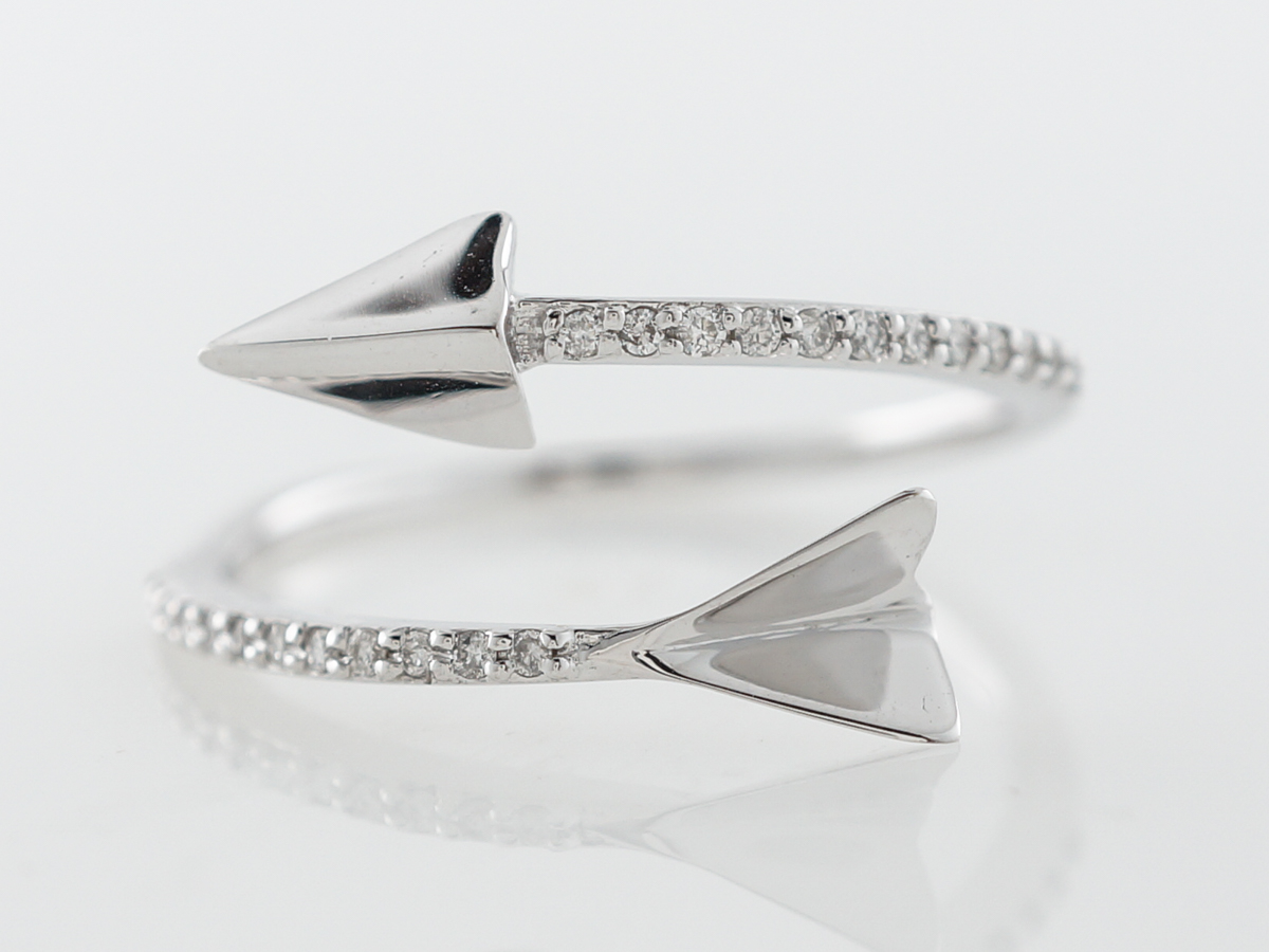 Diamond Arrow Ring in 18 Karat White Gold