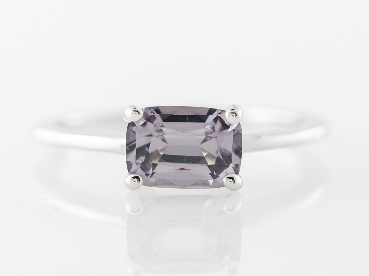 Emerald Cut Spinel Solitaire Engagement Ring in White Gold