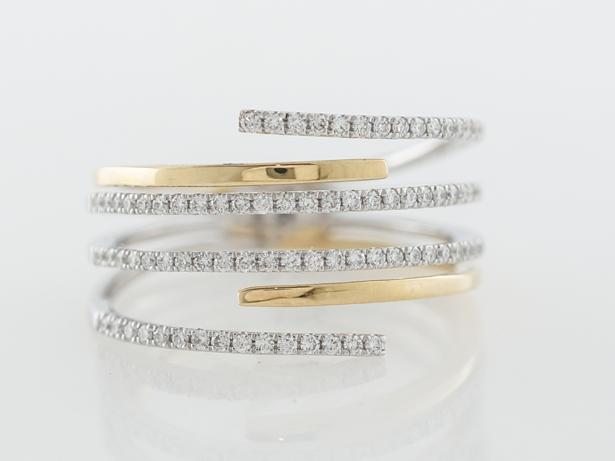 Two-Tone Diamond Stack Ring in 18k Yellow & White Gold