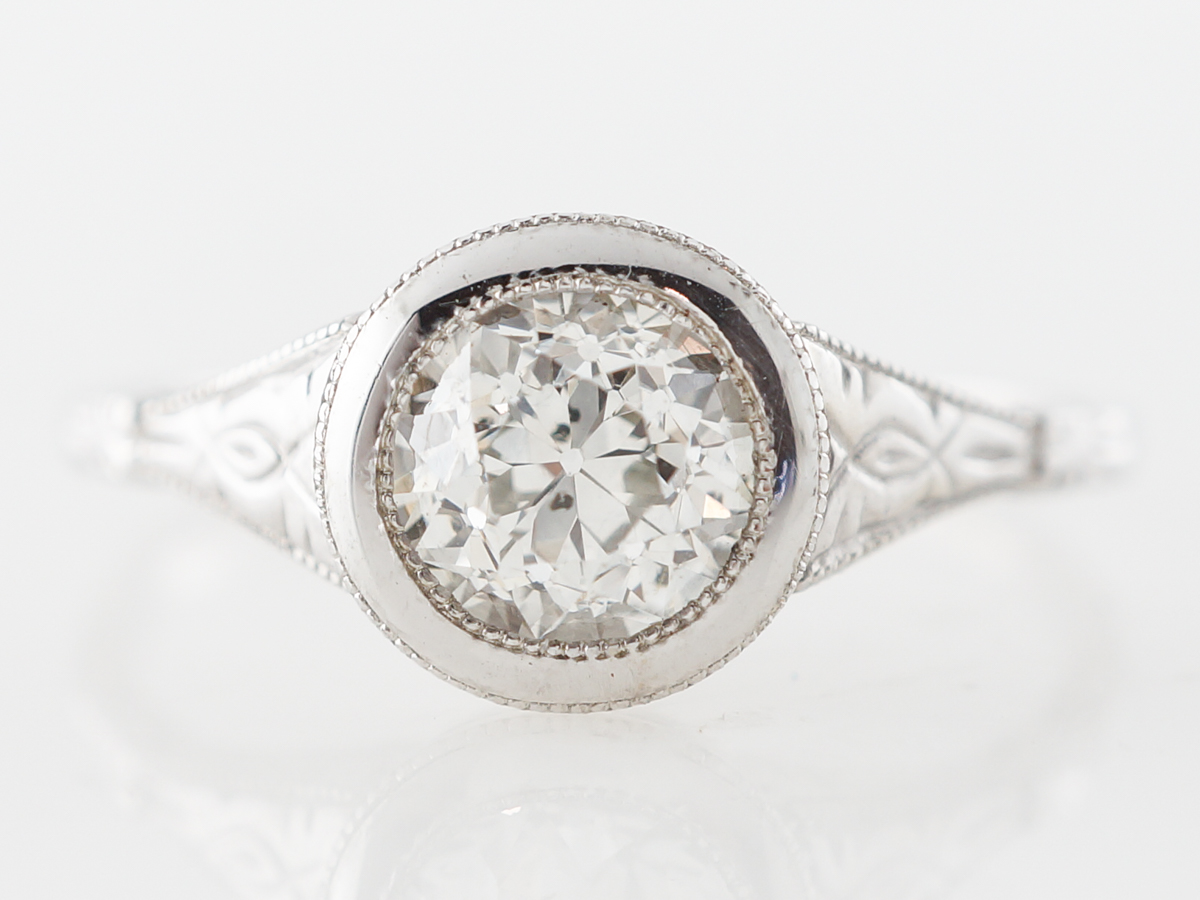 Bezel Set Euro Cut Diamond Solitaire in White Gold