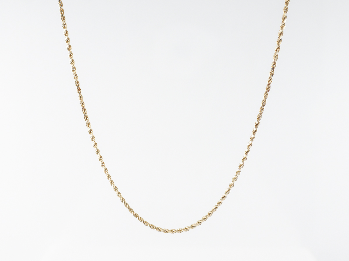 Thin Rope Chain Necklace in 14k Yellow Gold