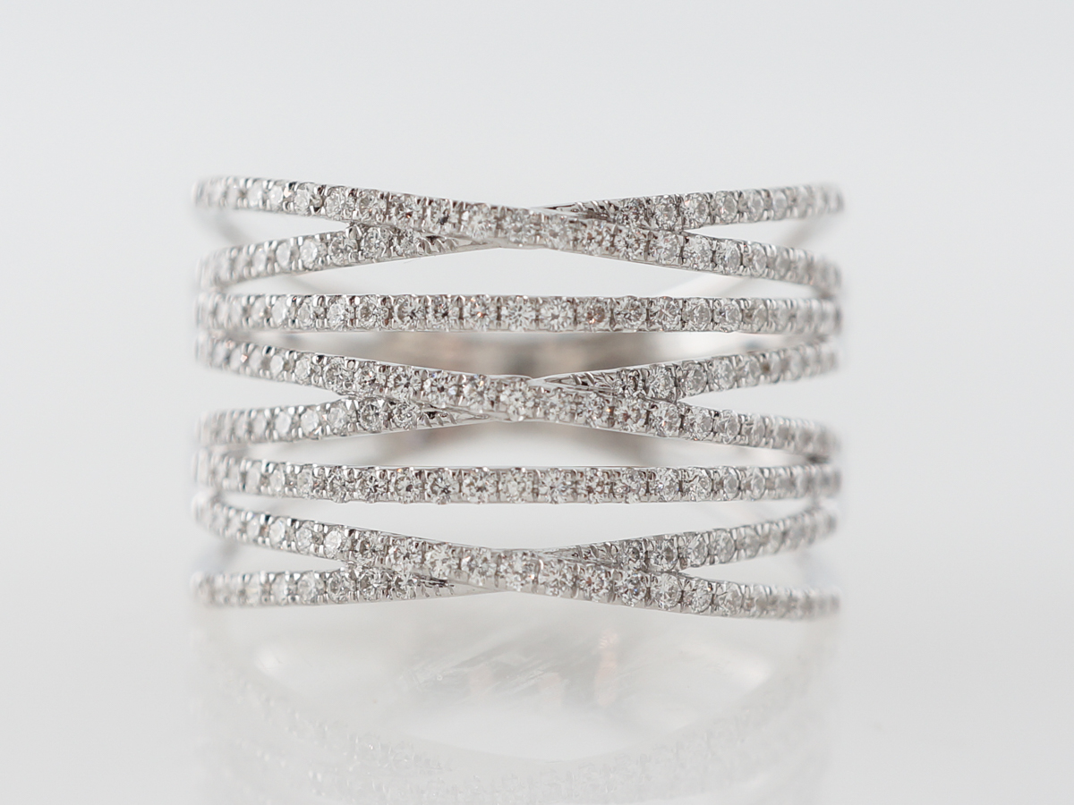 Diamond Stacking Ring in 18 Karat White Gold