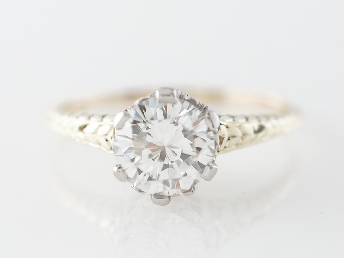Two Tone Diamond Solitaire Engagement Ring in 14k