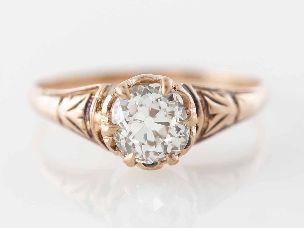 Victorian Old Mine Diamond Engagement Ring in Rose Gold