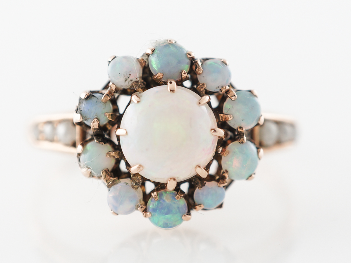 Victorian Opal Halo Ring in 12k Rose Gold