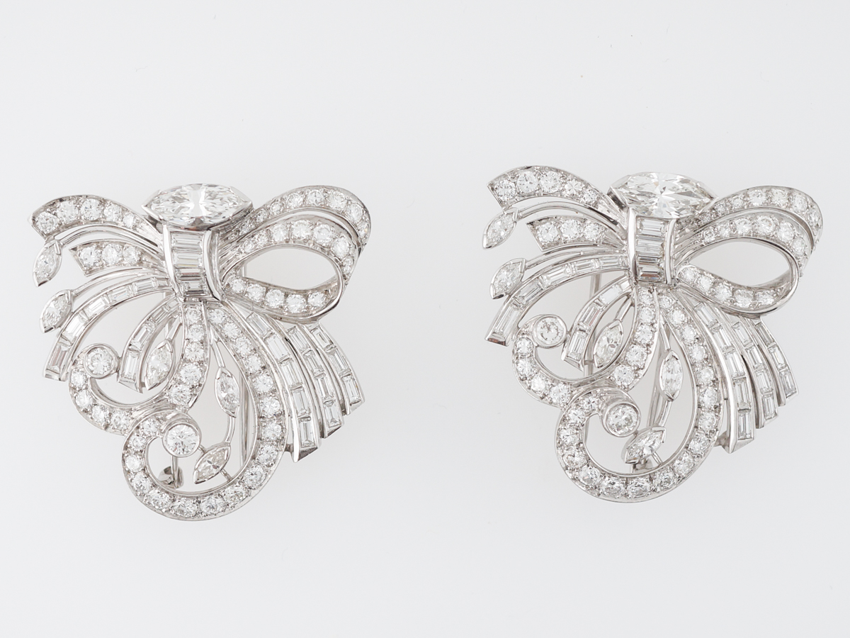 Antique Art Deco Earrings w/ Various Diamond Cuts in White Gold