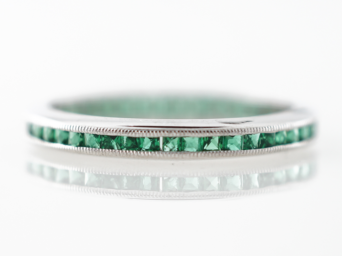 Vintage Emerald Eternity Band Mid-Century in White Gold