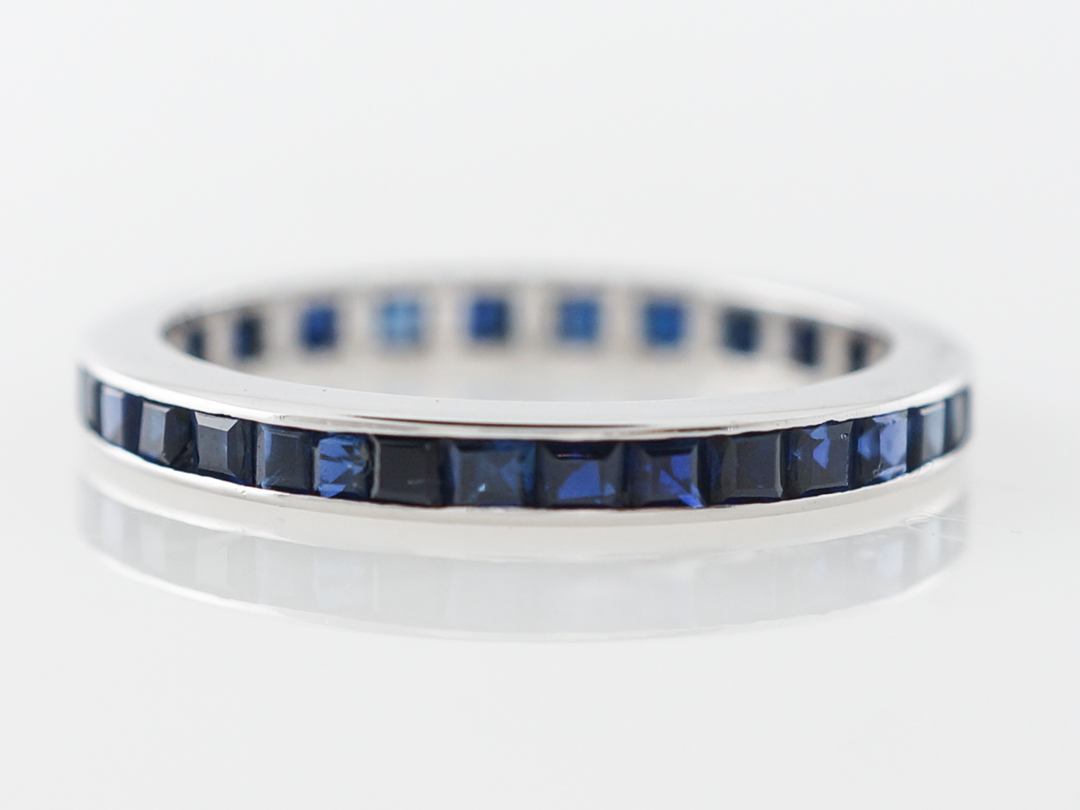 Vintage Sapphire Eternity Band Mid-Century in White Gold
