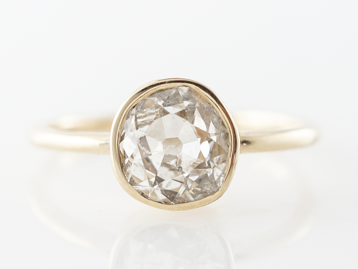 1 Carat Rose Cut Diamond Solitaire Yellow Gold Engagement Ring