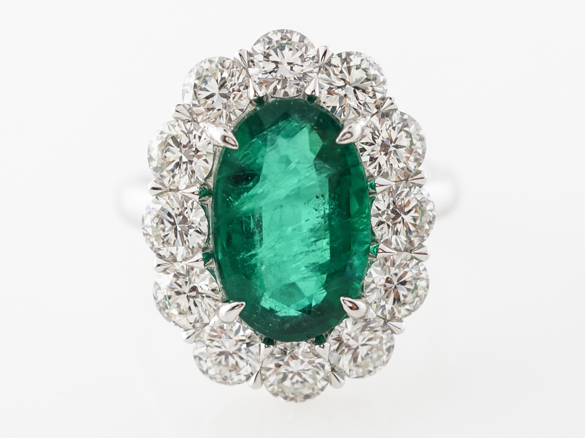Halo Style Emerald & Diamond Cocktail Ring Platinum