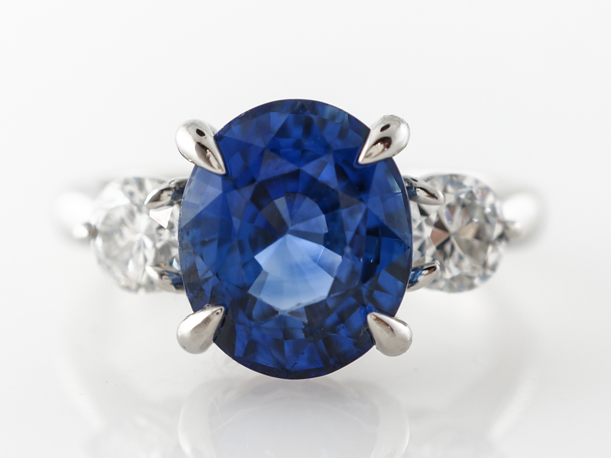4 Carat Sapphire Engagement Ring w/ Diamonds in Platinum