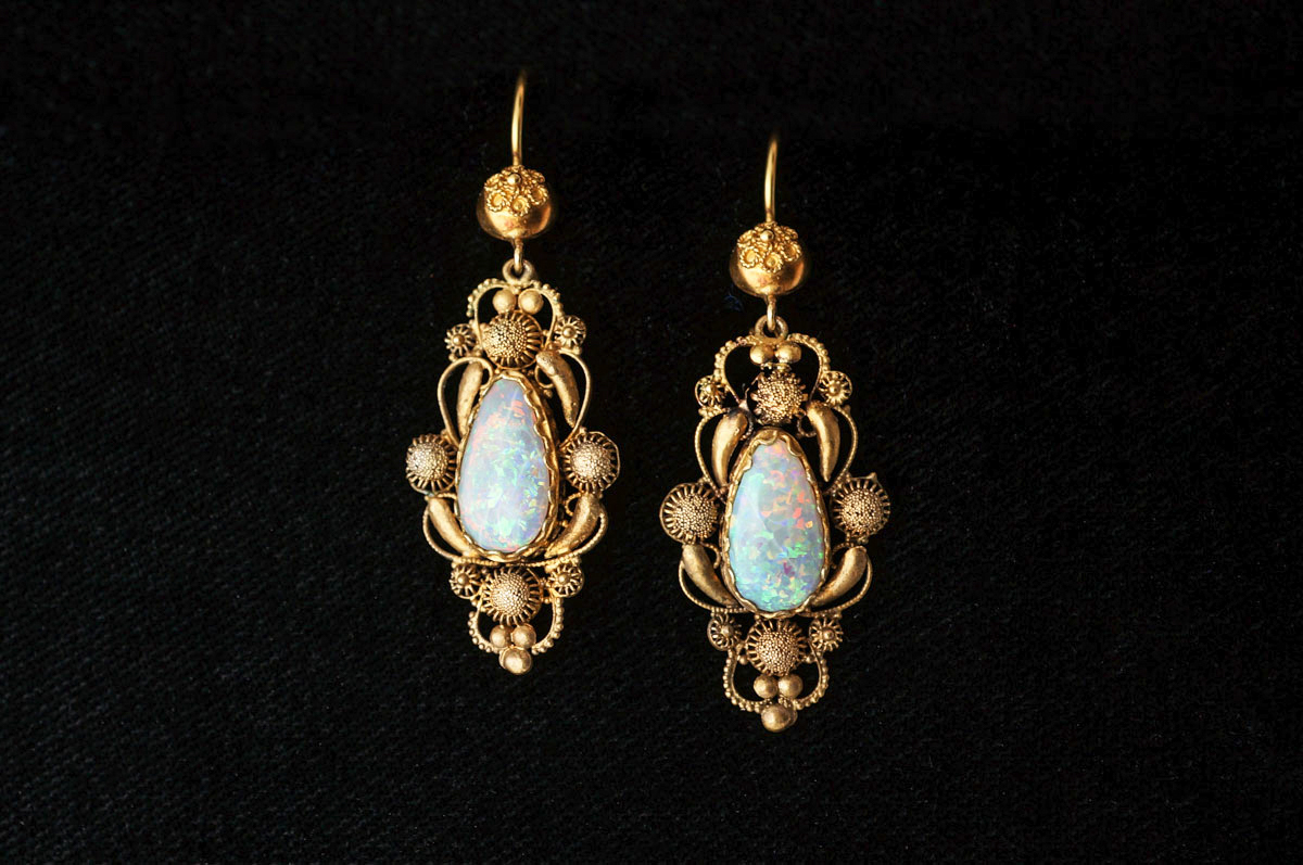 Antique Georgian Cannetille Earrings w Opals in 15k Yellow Gold