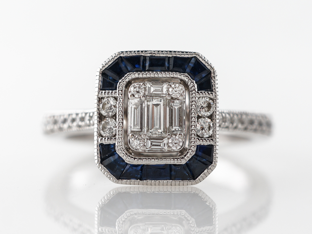 Geometric Diamond & Sapphire Engagement Ring in White Gold