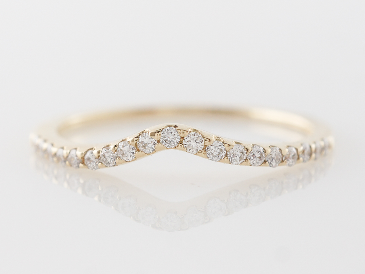 Contoured Band w/ Diamonds in 14k Yellow Gold