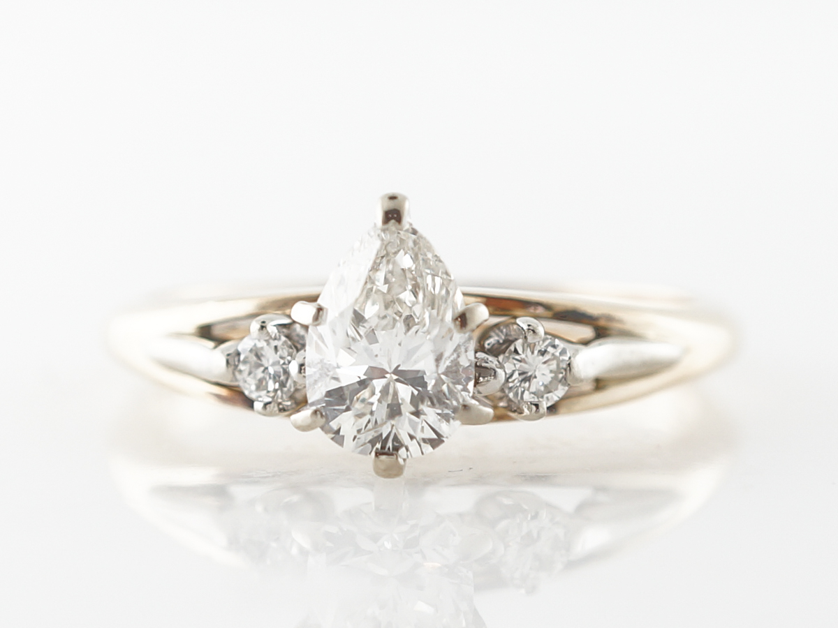Half Carat Pear Cut Diamond Engagement Ring in Yellow & White Gold