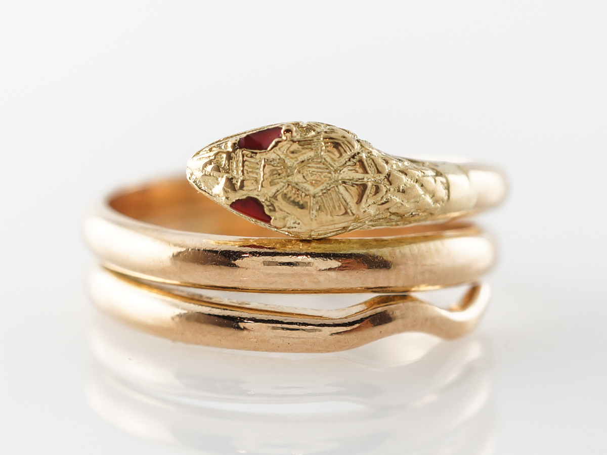 1950's Mid-Century Snake Ring w/ Rubies in 18k Yellow Gold