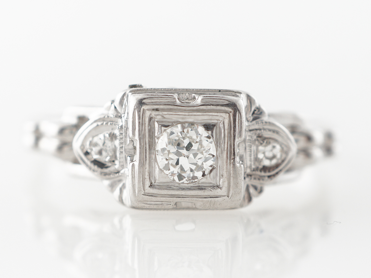 1930's Geometric Engagement Ring w/ .13 Diamond in White Gold