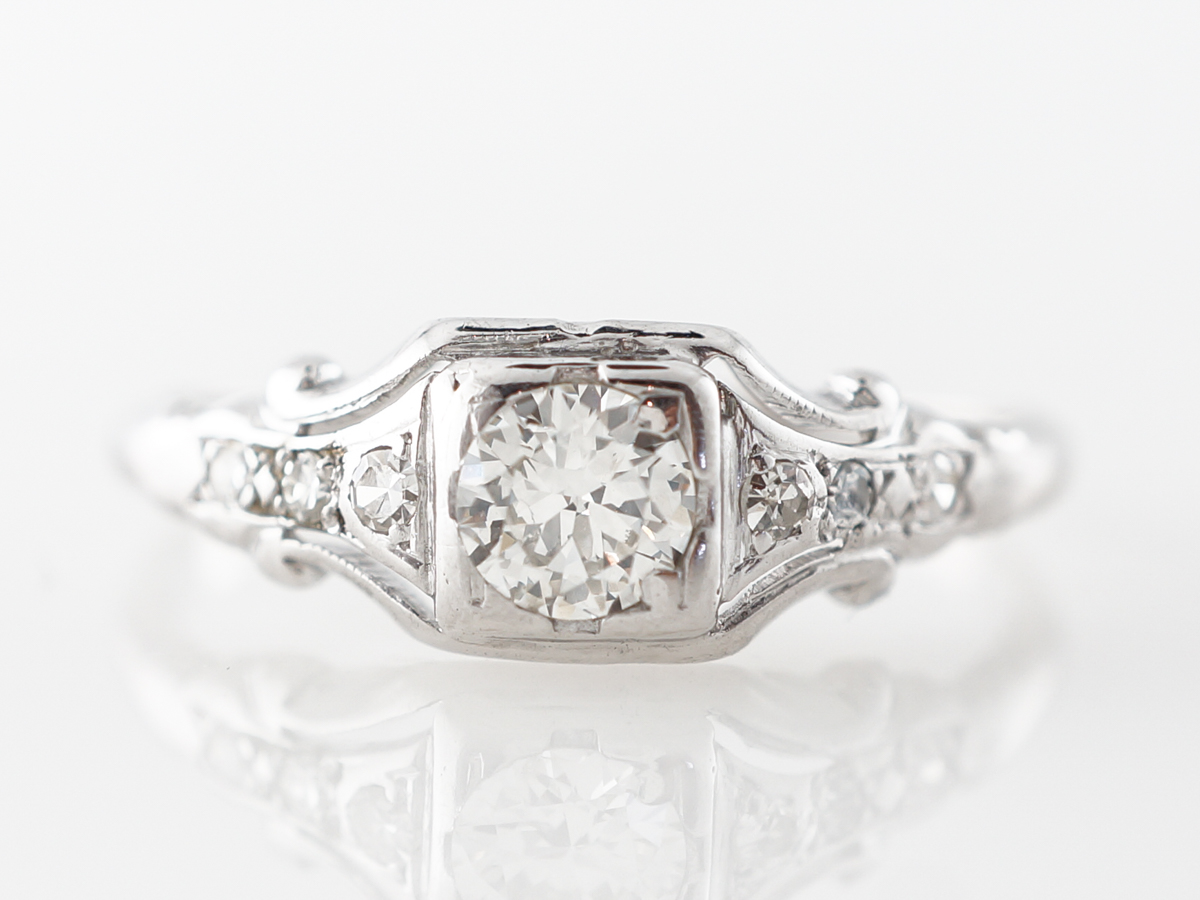 Transitional Cut .28 Carat Deco Diamond Engagement Ring