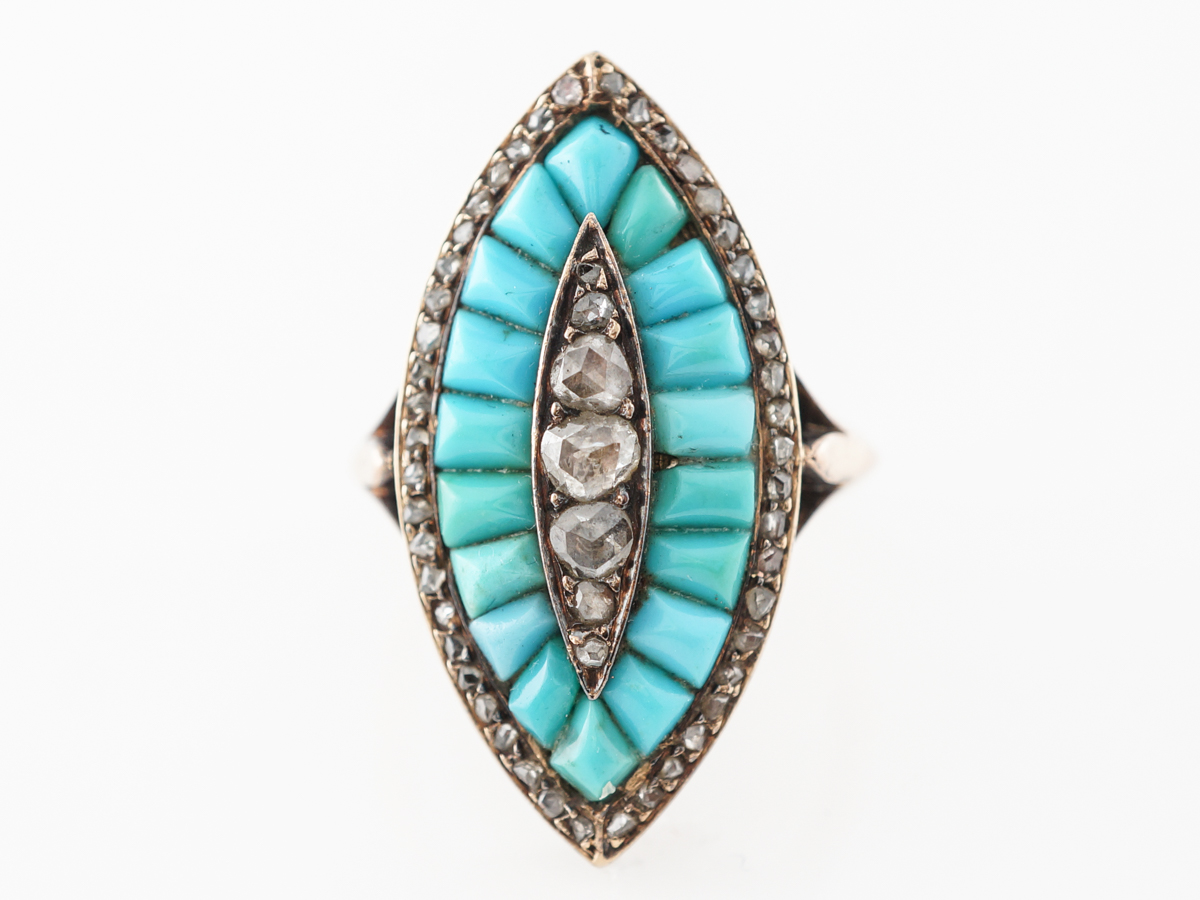 Vintage Victorian Diamond & Turquoise Ring in Rose Gold