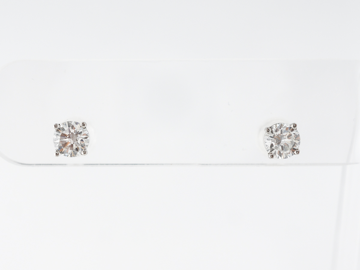 1 Carat Brilliant Diamond Earrings in Platinum