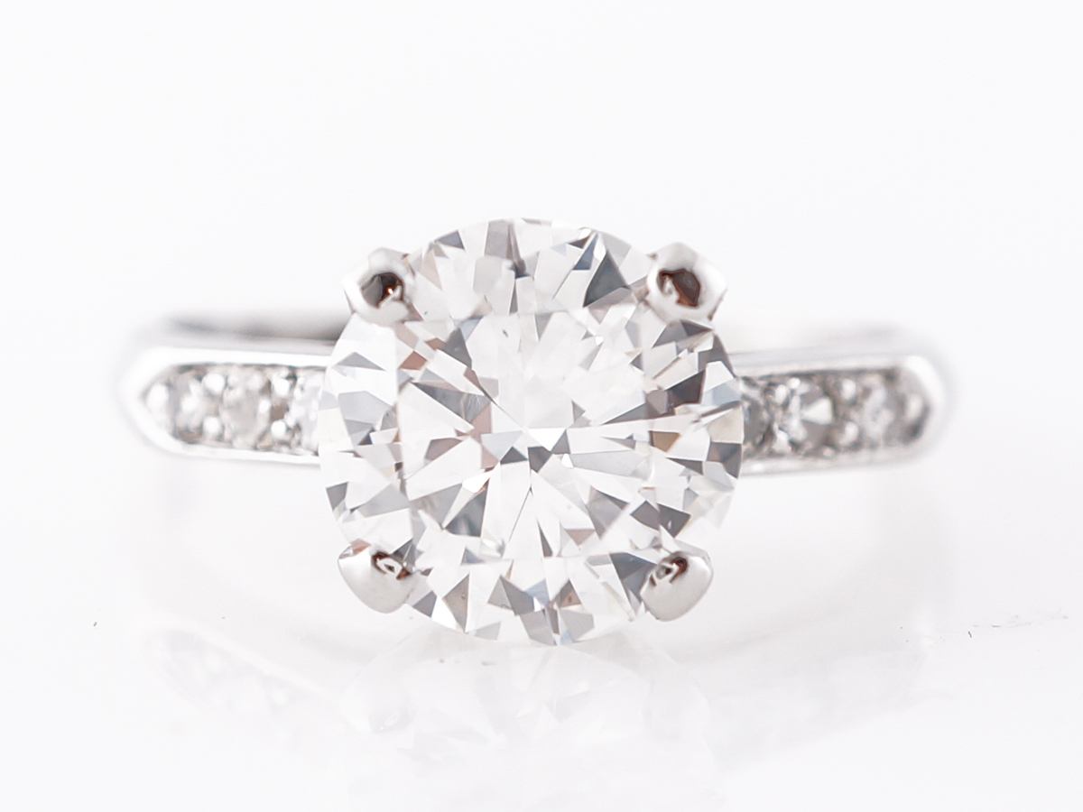 1.87 Carat Round Brilliant Cut Diamond Engagement Ring in Platinum