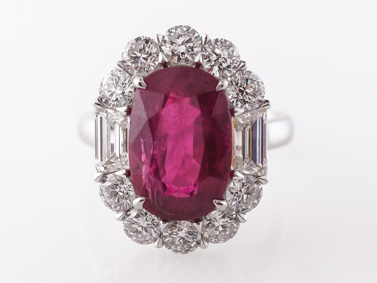 Large Oval Ruby & Diamond Halo Ring Platinum