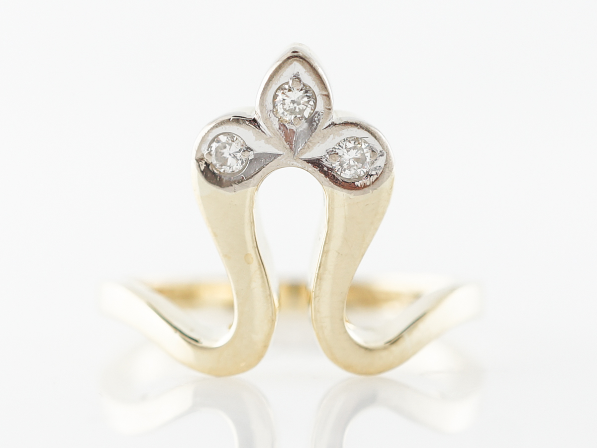 Half Fleur De Lis Diamond Ring in 18k Yellow Gold