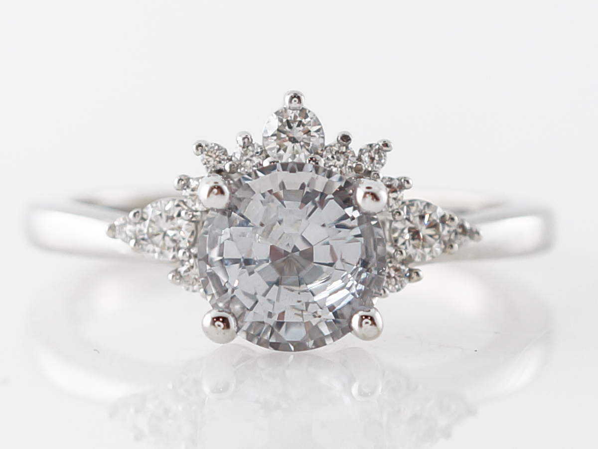 Grey Spinel Engagement Ring w/ Diamond Accents in White Gold