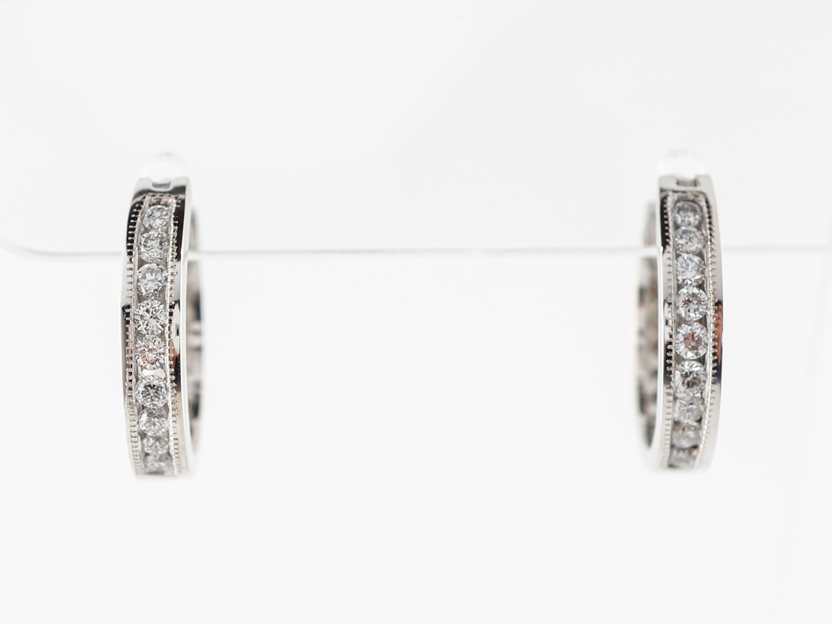 Half Carat Diamond Hoop Earrings in White Gold