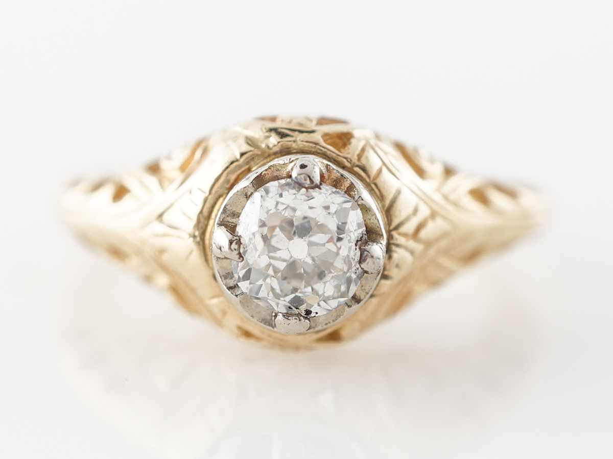 Vintage Half Carat Diamond Filigree Engagement Ring in Yellow Gold