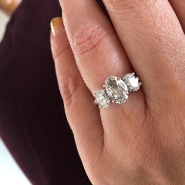 Three Stone Oval Engagement Ring in White Gold