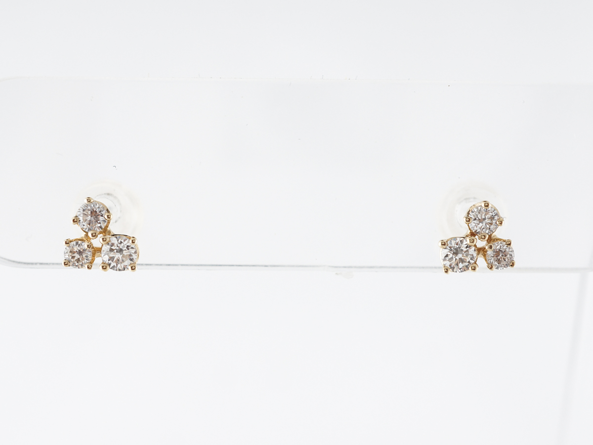 Diamond Cluster Earring Studs in 14k Yellow Gold