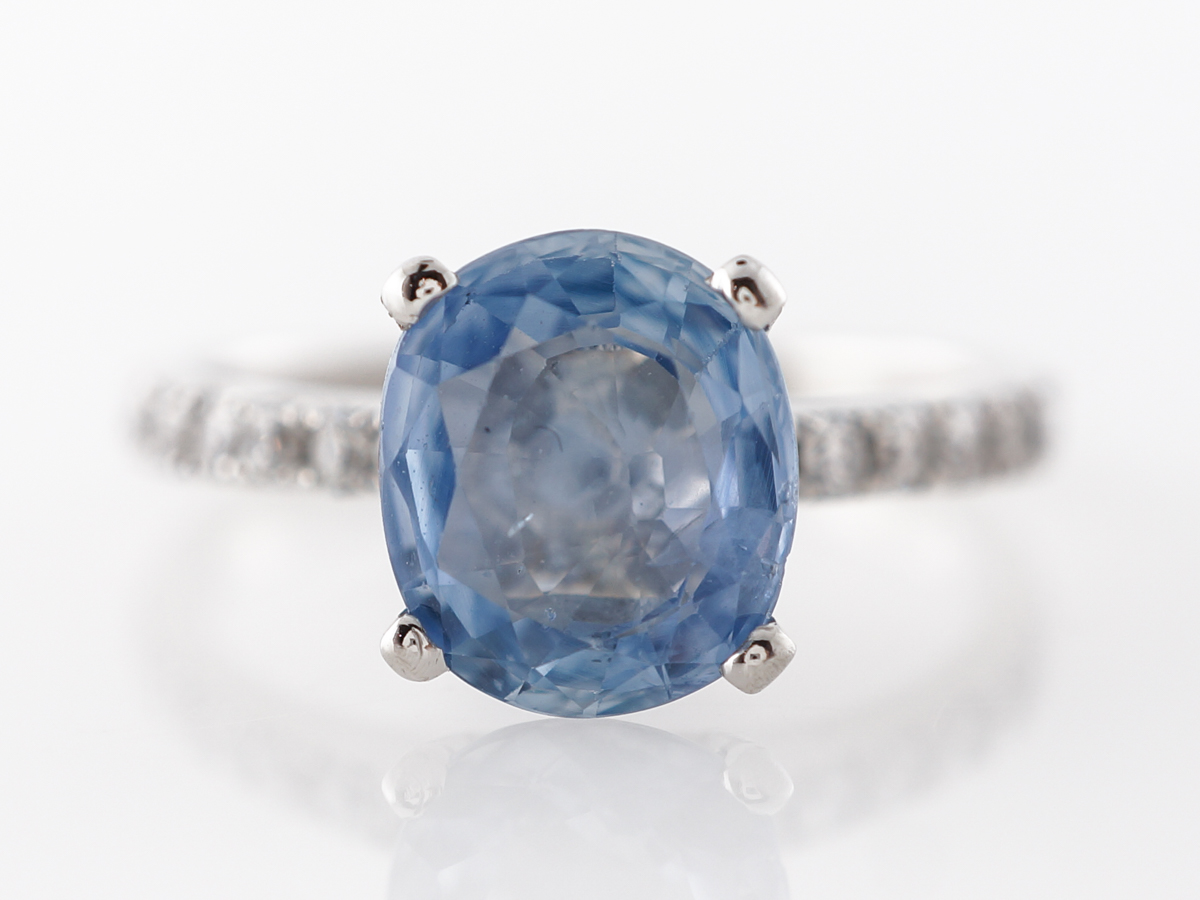 2.25 Carat Oval Sapphire Engagement Ring in Platinum