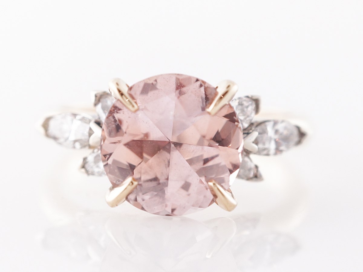 Peach Sapphire Engagement Ring w/ Diamonds in White Gold