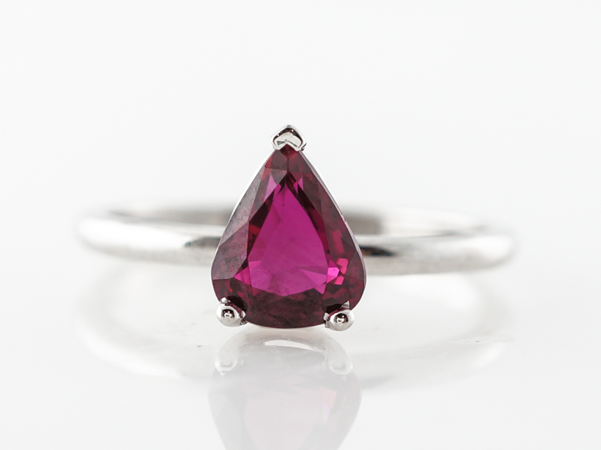 Pear Cut Ruby Engagement Ring in White Gold