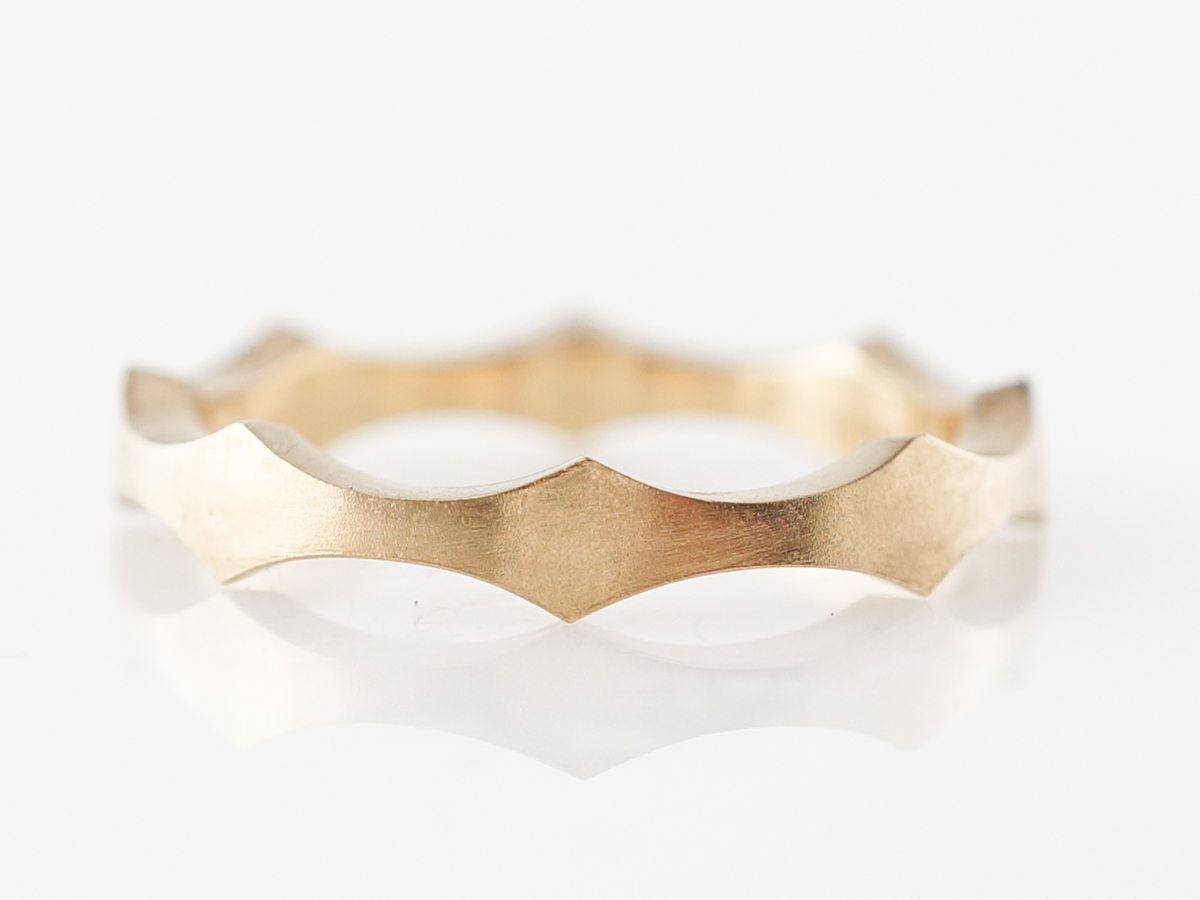 Scalloped Yellow Gold Ring w/ Brushed Finished