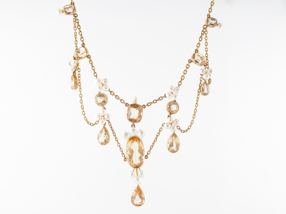 Vintage Victorian Necklace w/ Golden Topaz & Pearl in Yellow Gold