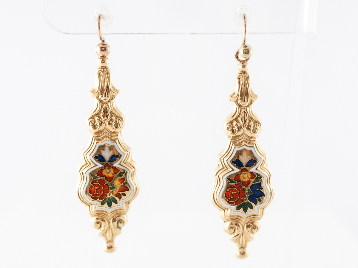 Vintage Victorian Engraved Earrings 14k Yellow Gold