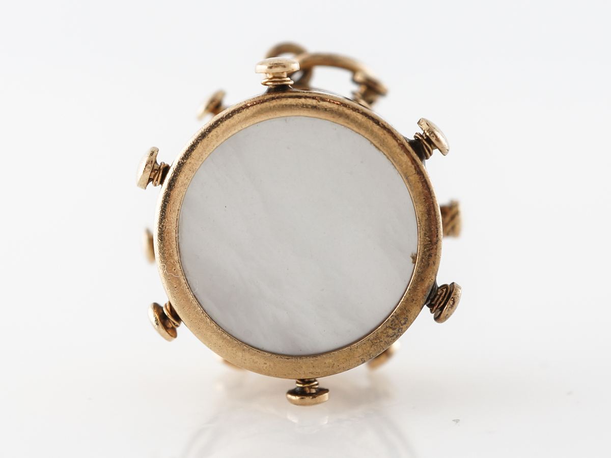 Victorian Drum Charm Mother of Pearl in Yellow Gold
