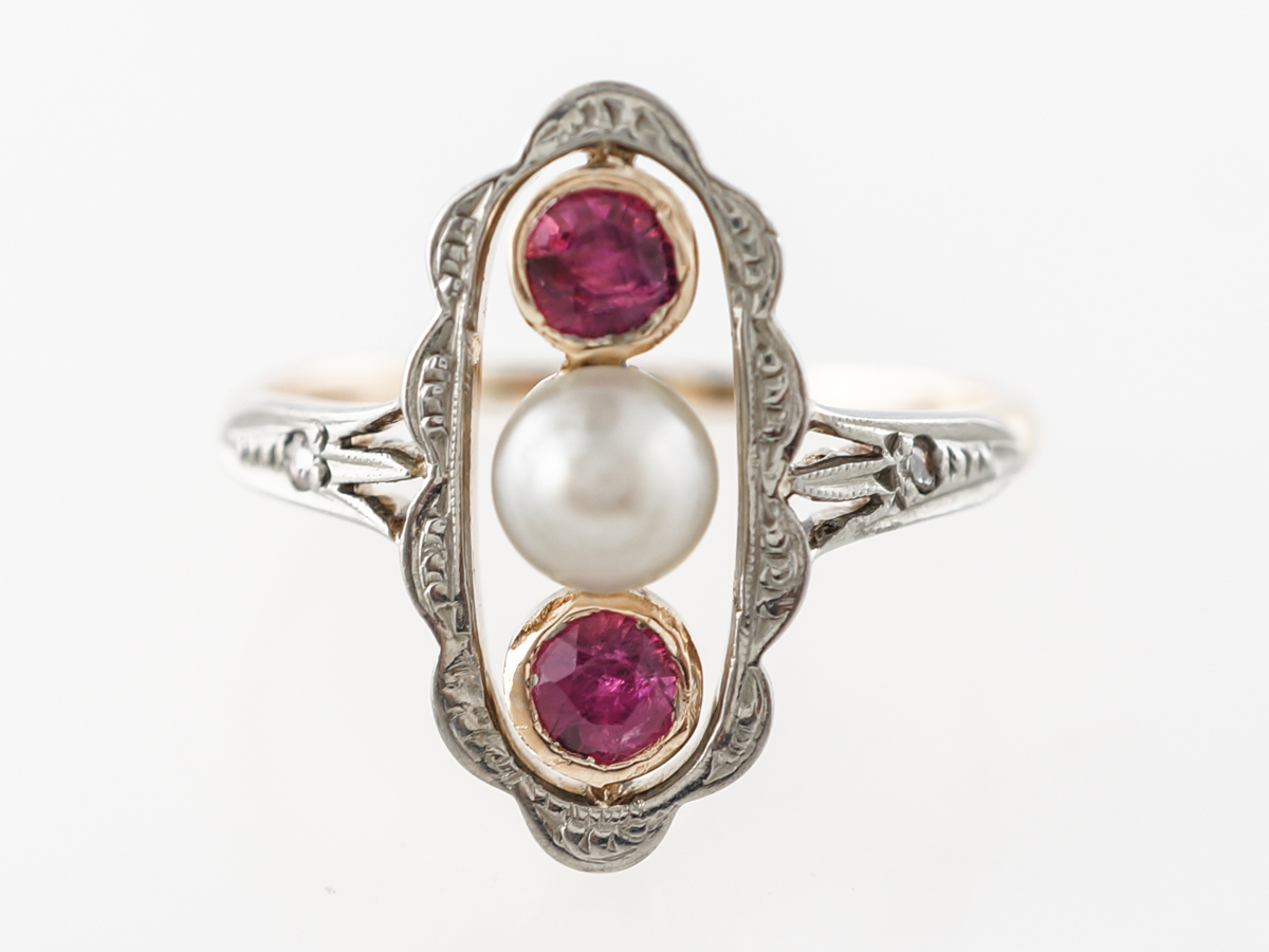 Victorian Ruby & Pearl Ring W/ Diamond Accents in Yellow Gold
