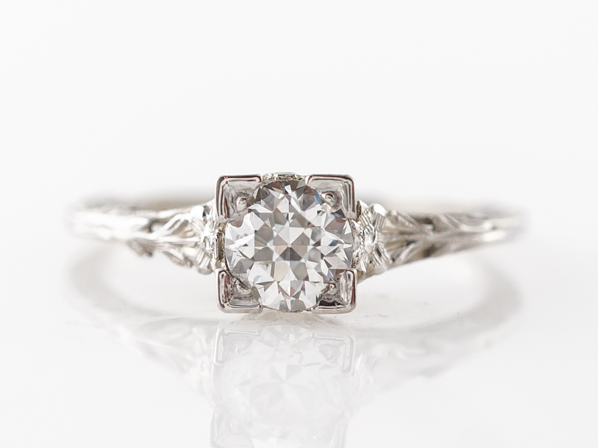 Vintage Deco Diamond Solitaire Engagement Ring in 18k