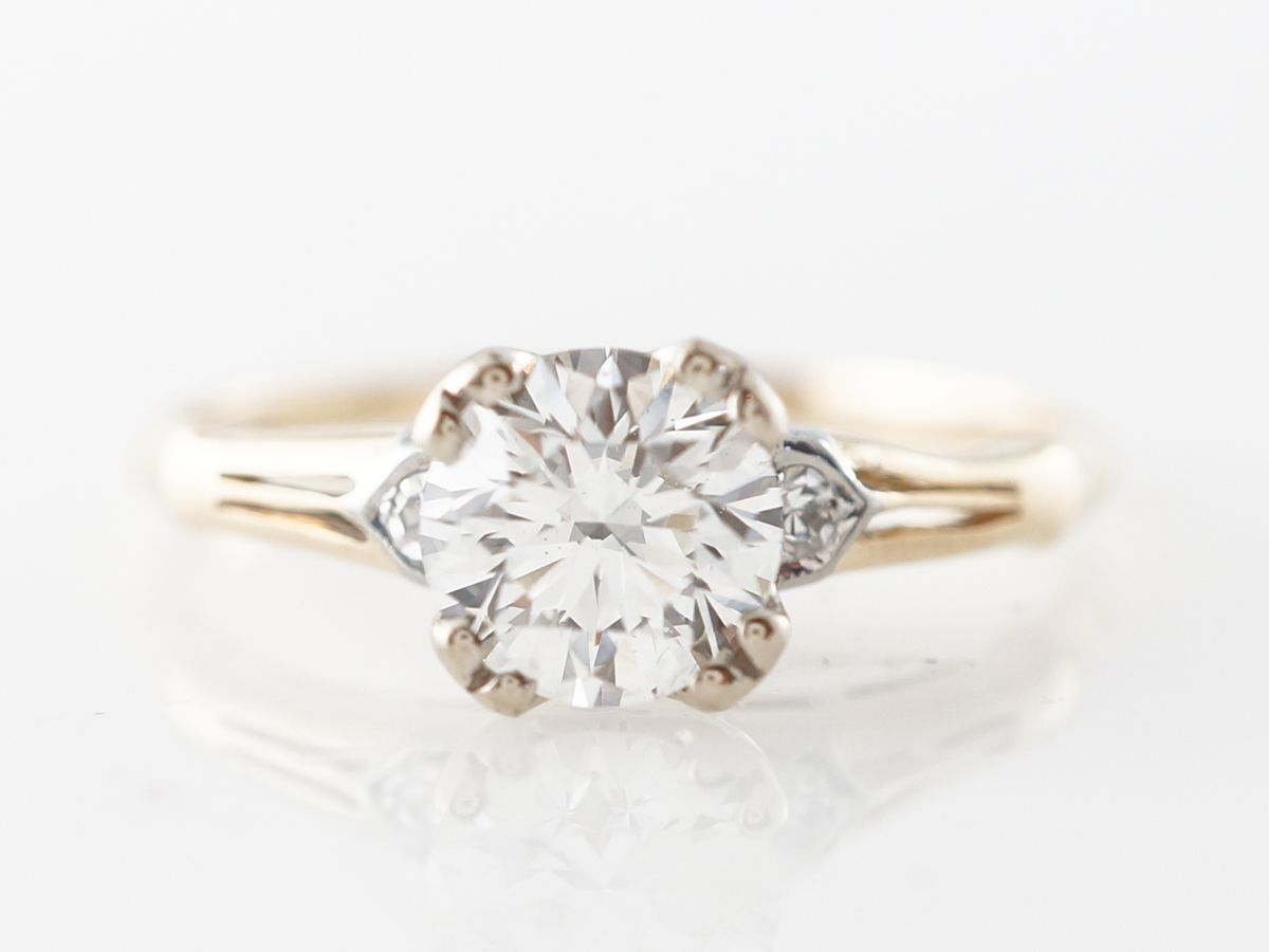Vintage Retro Solitaire Diamond Engagement Ring in 14k