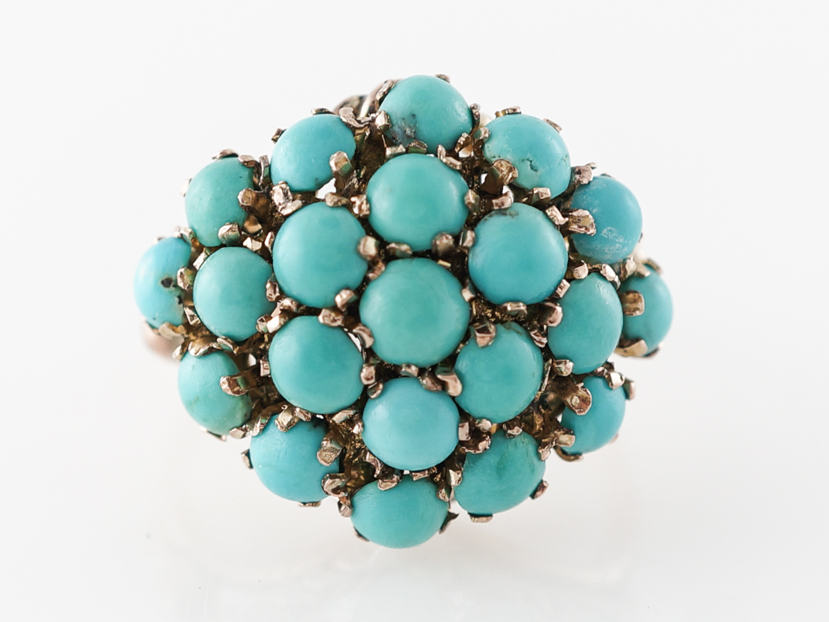 Vintage Retro Turquoise Cluster Ring in 14k Rose & Yellow Gold