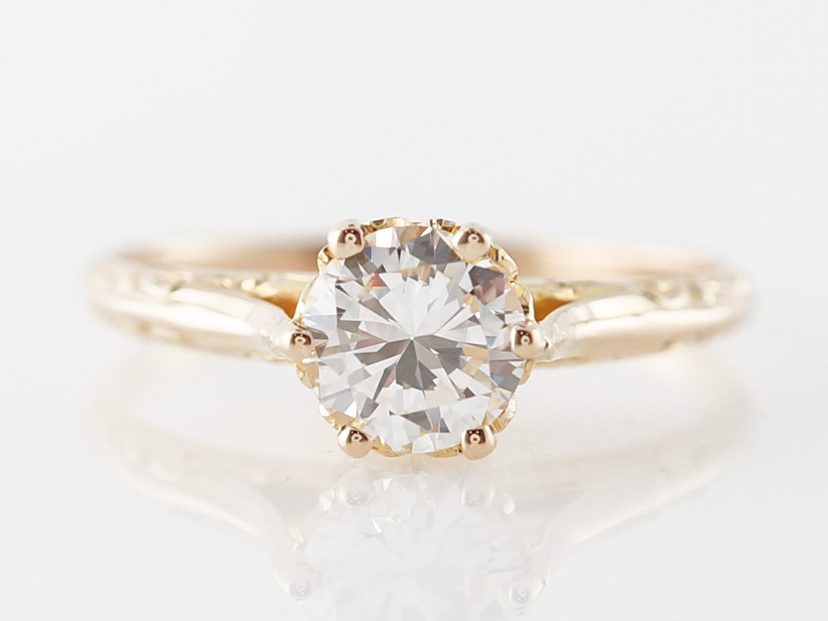 Vintage Style Diamond Solitaire Engagement Ring in 18k