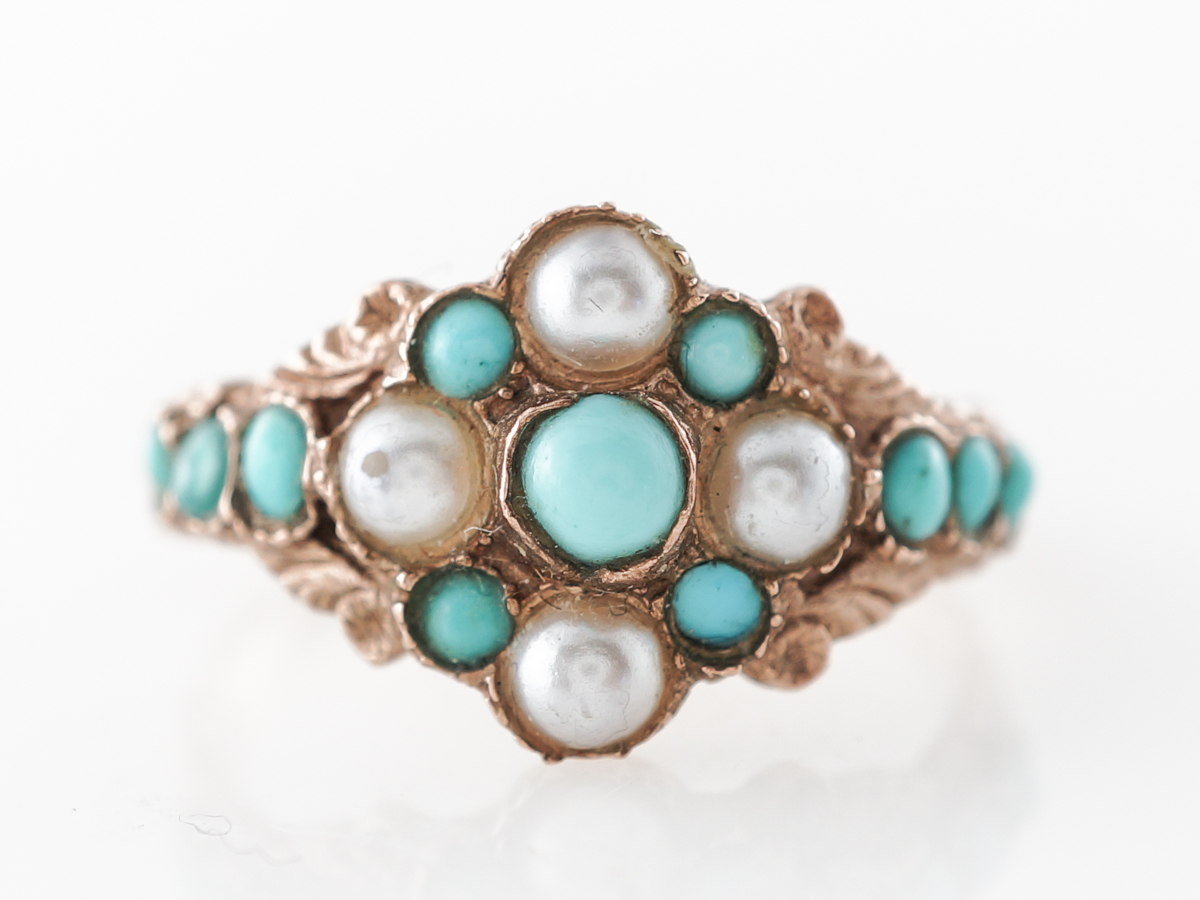 Vintage Victorian Turquoise & Pearl Ring in 9k Yellow Gold
