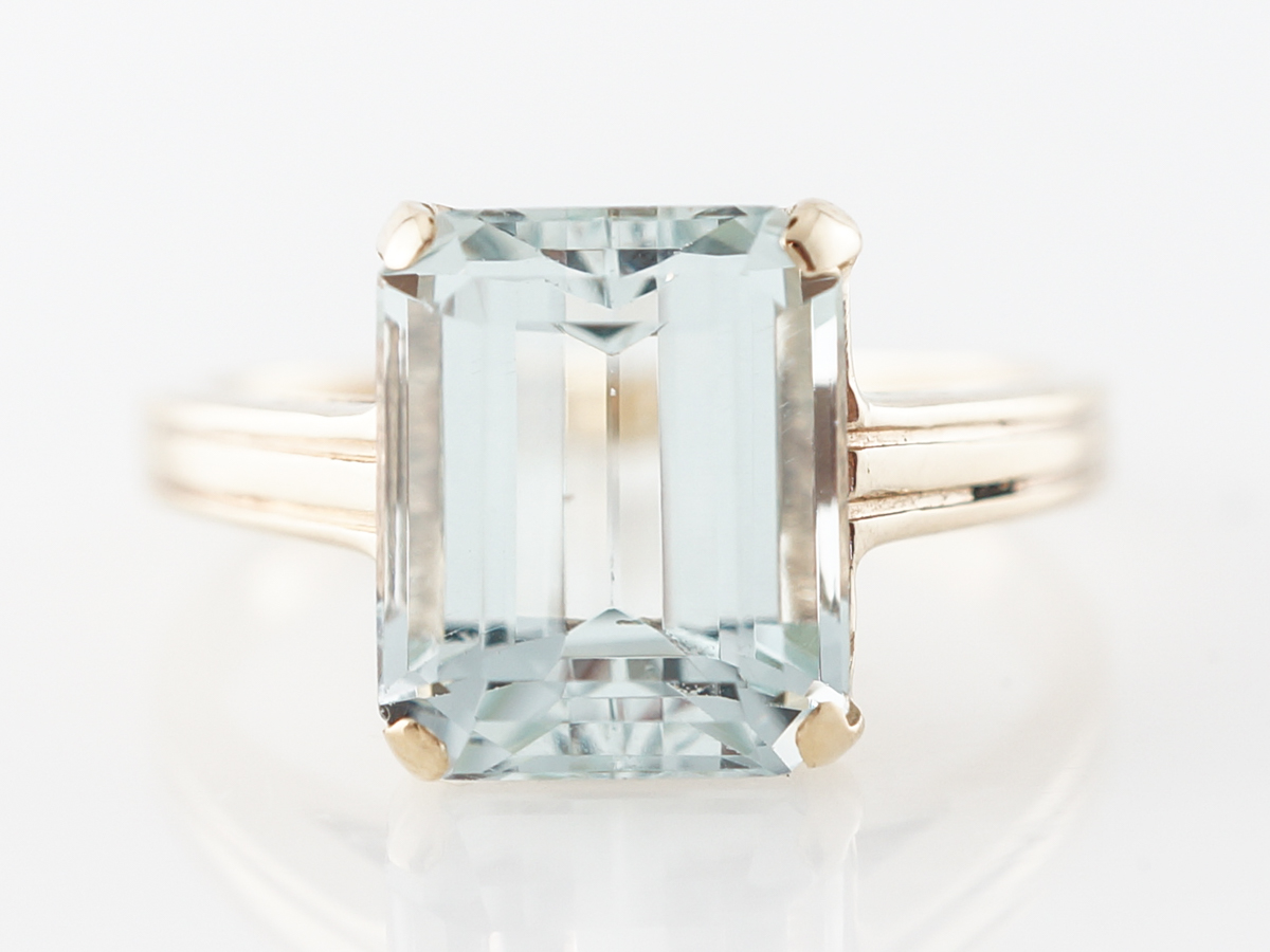 3 Carat Emerald Cut Aquamarine Cocktail Ring 14k