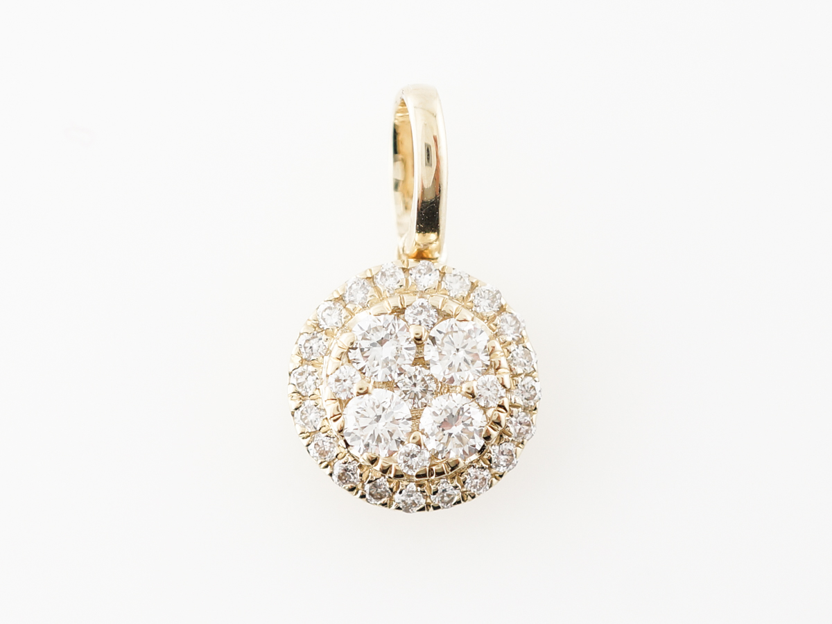 Pave Diamond Disk Pendant in 14k Yellow Gold