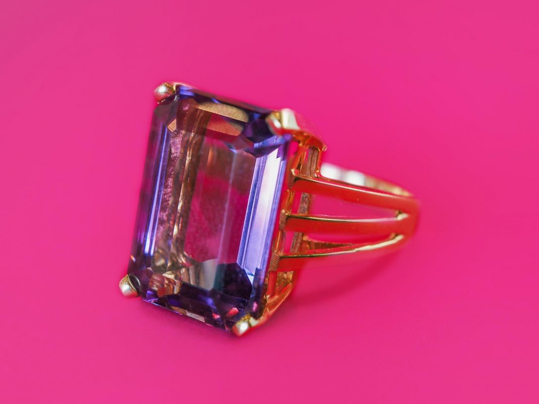 Vintage Cocktail Ring Mid-Century 14.06 Emerald Cut Amethyst in 14K Yellow Gold