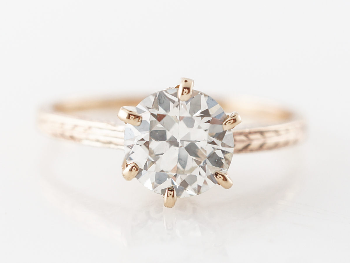 Vintage Style Solitaire Diamond Engagement Ring in 14k